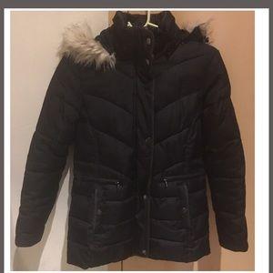 Ralph Lauren XS black fur hooded puffer jacket